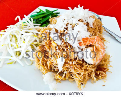 Mixed Crispy Rice Noodle with shrimp or Mi krop Srong Kreung in Thai language, Thai food style concept and homemade idea - Stock Photo