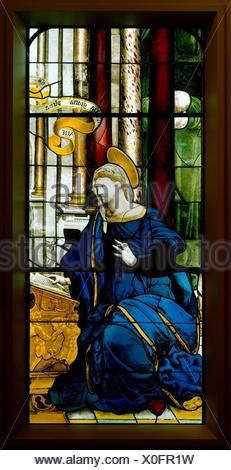 The Annunciate Virgin (one of a pair). Date: 1552; Culture: French, Paris; Medium: Colored, stained, and enameled glass; Dimensions: 64 x 28 in. - Stock Photo