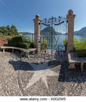 Switzerland, Europe, Lugano, Ticino, Parco Civico, Lake Lugano, landscape, summer, mountains, lake, San Salvatore, - Stock Photo