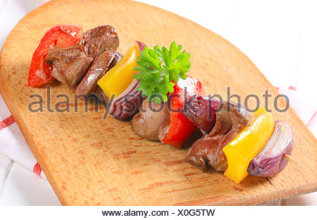 Chicken liver and vegetable skewer - Stock Photo
