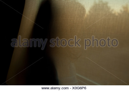 Young girl looking out of window through screen - Stock Photo