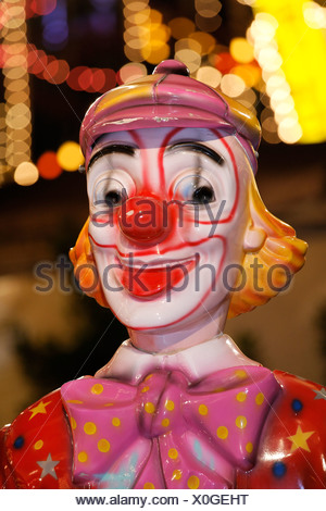 Figure of a clown, merry-go-round, Rhine funfair, Duesseldorf, NRW, Germany - Stock Photo