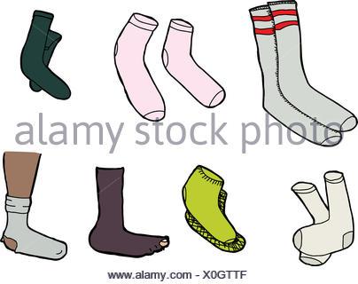 Various socks cartoons on isolated white background - Stock Photo