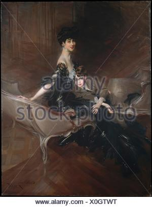 Consuelo Vanderbilt (1876-1964), Duchess of Marlborough, and Her Son, Lord Ivor Spencer-Churchill (1898-1956). Artist: Giovanni Boldini (Italian, - Stock Photo