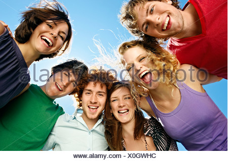 Portrait of six young happy people - Stock Photo