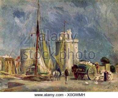 fine arts, Renoir, Auguste (1841 - 1919), 'Harbour of La Rochelle', Lefevre Gallery, London, impressionism, landscape, France
