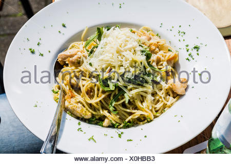 Pasta, Plate of Italian spaghetti. - Stock Photo