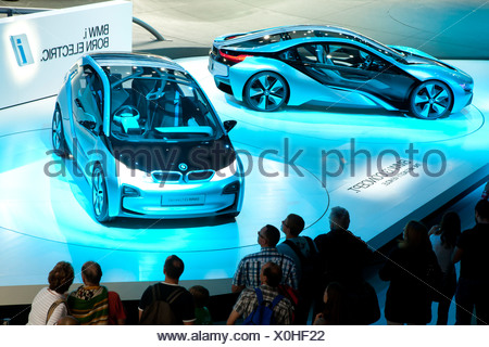 Study of the BMW i3 concept and BMW i8 concept, electric cars, BMW AG, 64th International Motor Show, IAA, 2011 - Stock Photo