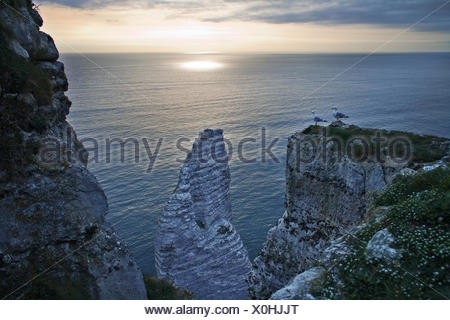 the cliffs of Etretat, Normandy, France - Stock Photo