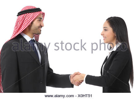 Side view of an arab saudi businesspeople handshaking isolated on a white background - Stock Photo
