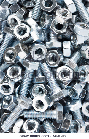 Close up of nuts and bolts - Stock Photo