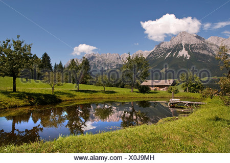 Bergsee Lake in front of the Wilder Kaiser Range, Tirol, Austria, Europe - Stock Photo
