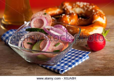 bavarian sausage-salad - Stock Photo