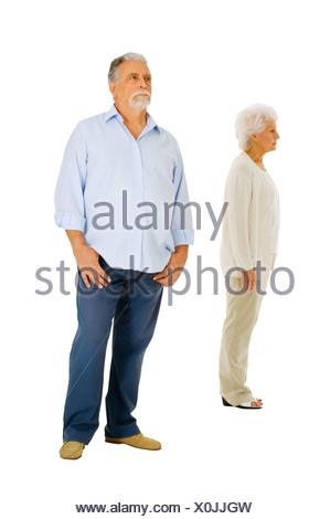 elderly couple separated - Stock Photo