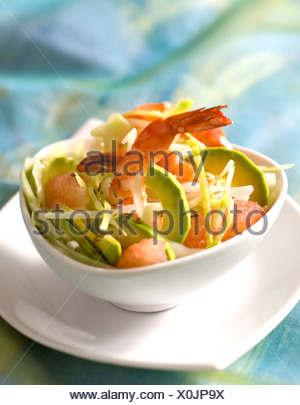 Avocado, Grapefruit and Gambas Salad - Stock Photo