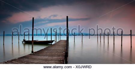 Evening mood in Iznag at Lake Constance, Hoeri peninsula, Radolfzell, Baden-Wuerttemberg, Germany - Stock Photo