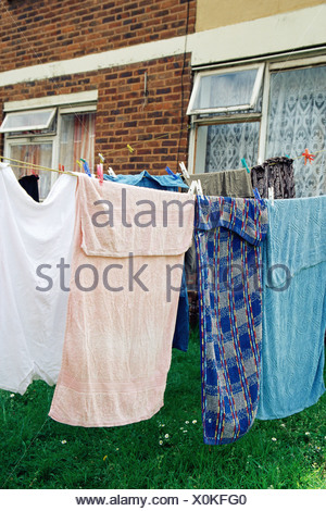 Towels on a washing line - Stock Photo