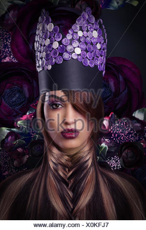 Imagination. Extravagance. Styled Woman in Fantastic Headwear - Stock Photo