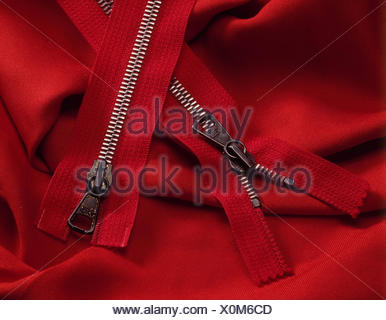 Zippers, seal, seal, haberdashery, household, Zip, closes, two open, red, - Stock Photo