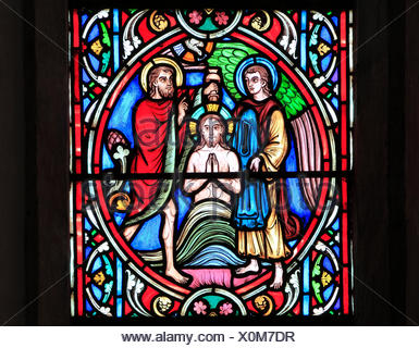 Scene from Life of Jesus, by Adolph Didron, Paris, 1860, stained glass window, Feltwell, Norfolk, England, Jesus baptized, by John the Baptist - Stock Photo