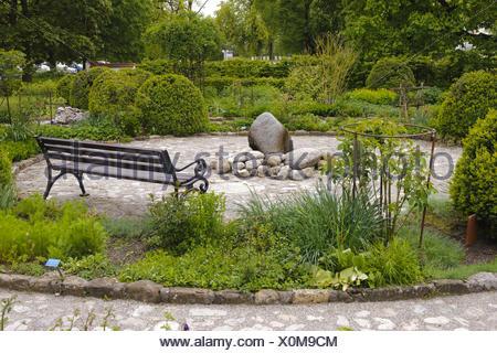 herb garden in abbey Benediktbeuern, Bavaria - Stock Photo