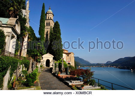 Church of Morcote situated on Lago di Lugano, Lake Lugano, Canton of Ticino, Switzerland, Europe - Stock Photo