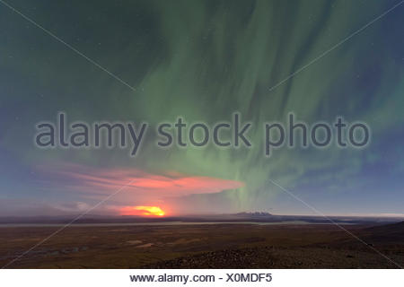 Ash and gas cloud of the Holuhraun fissure eruption, near the volcano Bárðarbunga, northern lights, highlands - Stock Photo