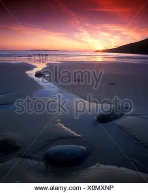 Sunset on the beach, Achill Island, County Mayo, Republic of Ireland, Europe - Stock Photo