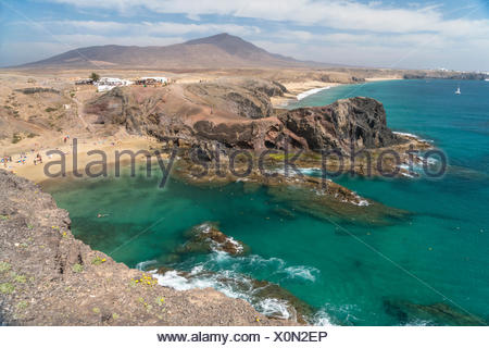 Playas de Papagayo bei Playa Blanca, Insel Lanzarote, Kanarische Inseln, Spanien |  Playas de Papagayo near  Playa Blanca, Lanzarote, Canary Islands,  - Stock Photo