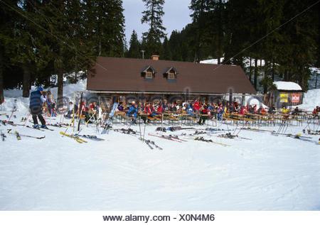 Many people at a ski hut, Hochkar, Lower Austria, Austria, Europe - Stock Photo
