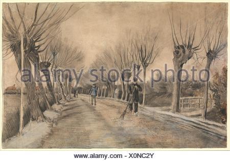 Road in Etten. Artist: Vincent van Gogh (Dutch, Zundert 1853-1890 Auvers-sur-Oise); Date: 1881; Medium: Chalk, pencil, pastel, watercolor. - Stock Photo