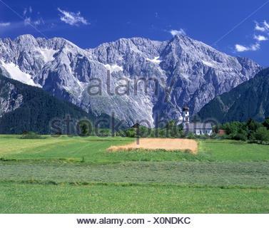 Austria, Tyrol, St. Anton in the mountain Arl, cartel lake against Küchelspitze and Faselfadspitzen, - Stock Photo