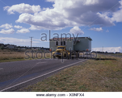 A whole house is moved, North-Island, New Zealand - Stock Photo
