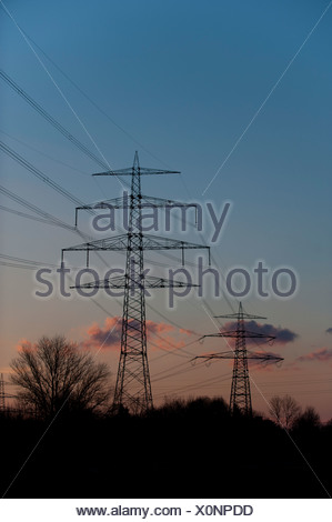High-voltage power lines, Germany, Europe - Stock Photo
