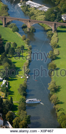 Aerial view, Ruhr River near Bommern, Ruhr Valley, Witten, Ruhr Area, North Rhine-Westphalia, Germany, Europe - Stock Photo
