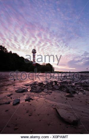 Lighthouse Wittenbergen on Elbe River, Hamburg, DE - Stock Photo
