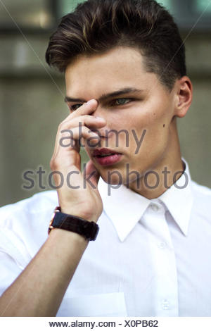 Puzzle. Difficulty. Thinking Cool Handsome Man in Trouble - Stock Photo