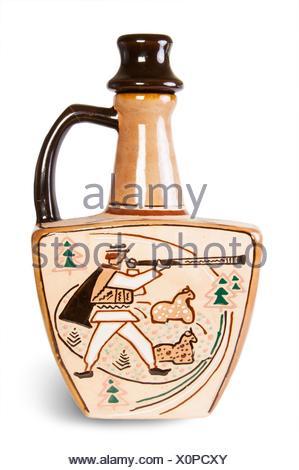 Ancient Wine Jug Isolated On White Background. - Stock Photo