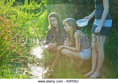 Young man and women catching tadpoles - Stock Photo
