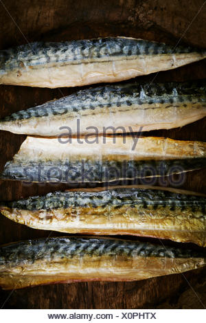 Smoked fish fillets laid out in a row. - Stock Photo