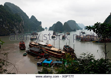 Boats in the Ha Long Bay, Vietnam, Southeast Asia - Stock Photo