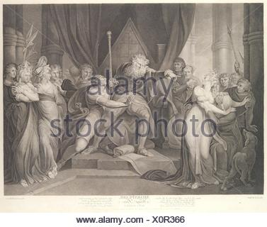 King Lear Casting Out His Daughter Cordelia (Shakespeare, King Lear, Act 1, Scene 1). Series/Portfolio: Boydell´s Shakespeare Gallery; Engraver: - Stock Photo