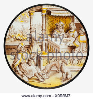 Roundel with Lazarus at the House of Dives. Date: ca. 1520; Culture: South Netherlandish; Medium: Colorless glass, vitreous paint and silver stain; - Stock Photo
