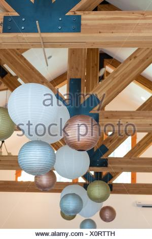 Wedding Reception Decor Of White Gold And Silver Paper Lanterns