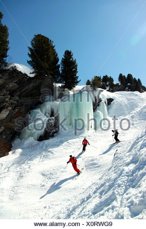 France, Alps, Savoie, Méribel-Mottaret, off piste skiing - Stock Photo