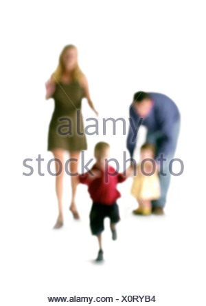 Silhouette of parents and two children, on white background, defocused - Stock Photo