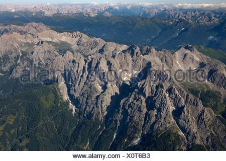 Lienz Dolomites, aerial photo, East Tyrol, Austria, Europe - Stock Photo