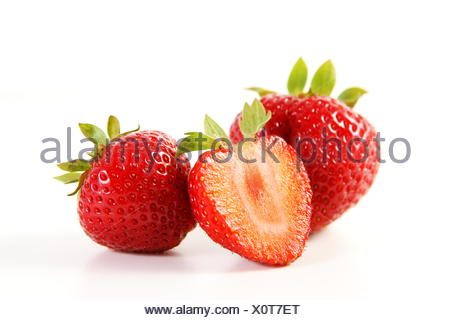 strawberry love - isolated strawberries - Stock Photo