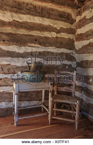 Independence, interior, log cabin, wooden, hut, Seward, Plantation, Texas, USA, United States, America, - Stock Photo