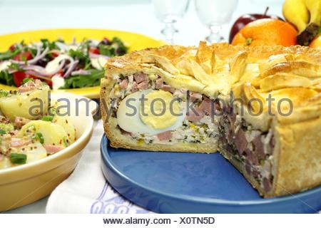 Sliced Hamm And Pie - Stock Photo